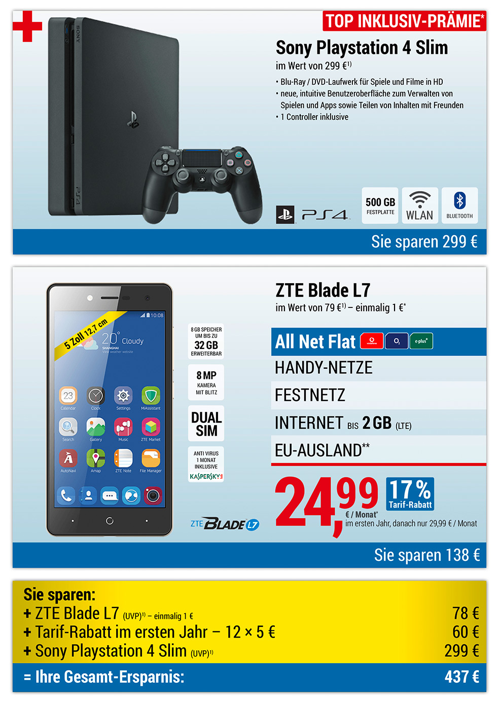 PlayStation PS4 INKLUSIVE + ZTE Blade L7