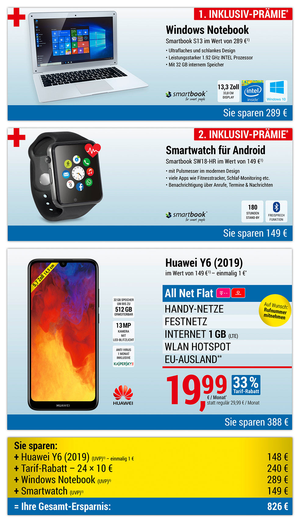Windows Notebook + Smartwatch INKLUSIVE + Huawei Y6