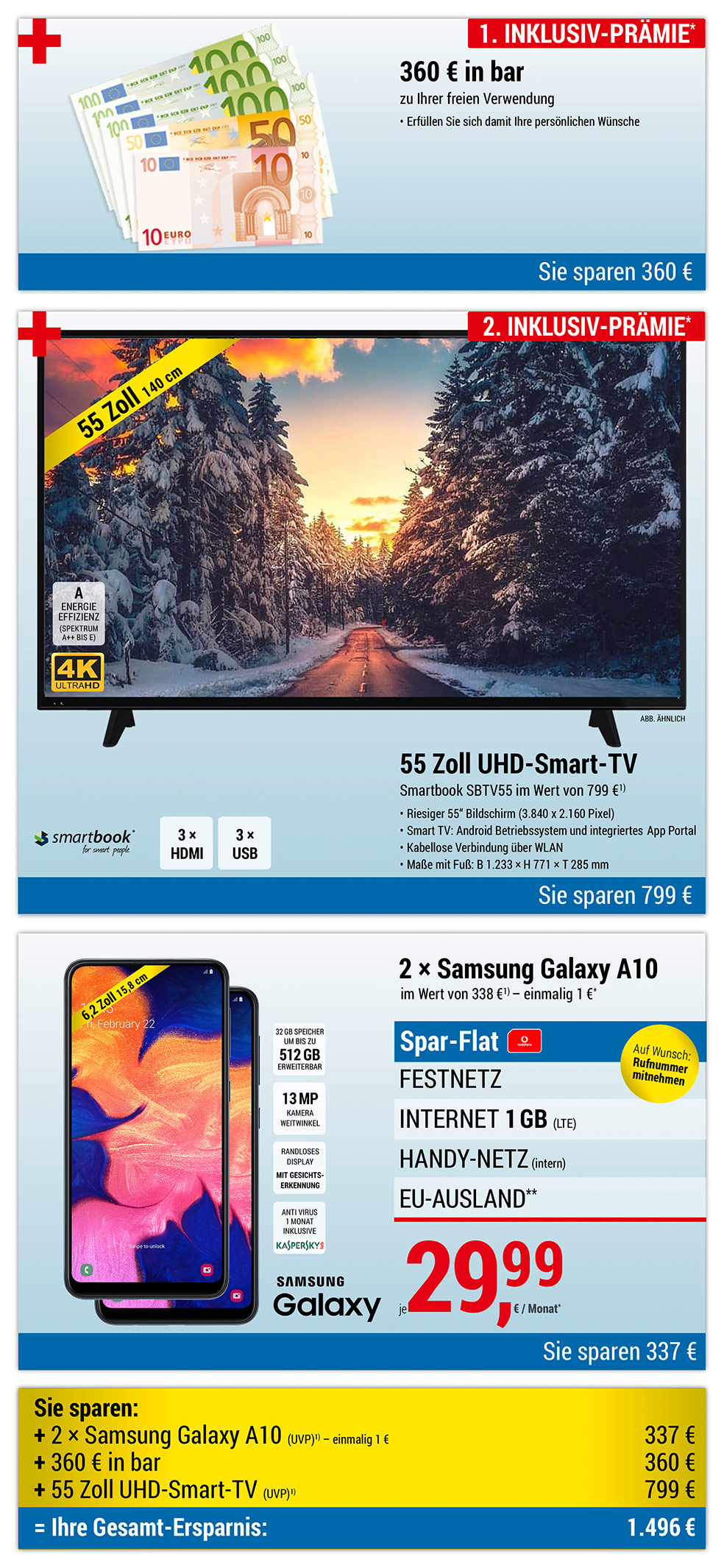 360 € bar + 55 Zoll UHD-Smart-TV INKLUSIVE + 2 × Samsung Galaxy A10