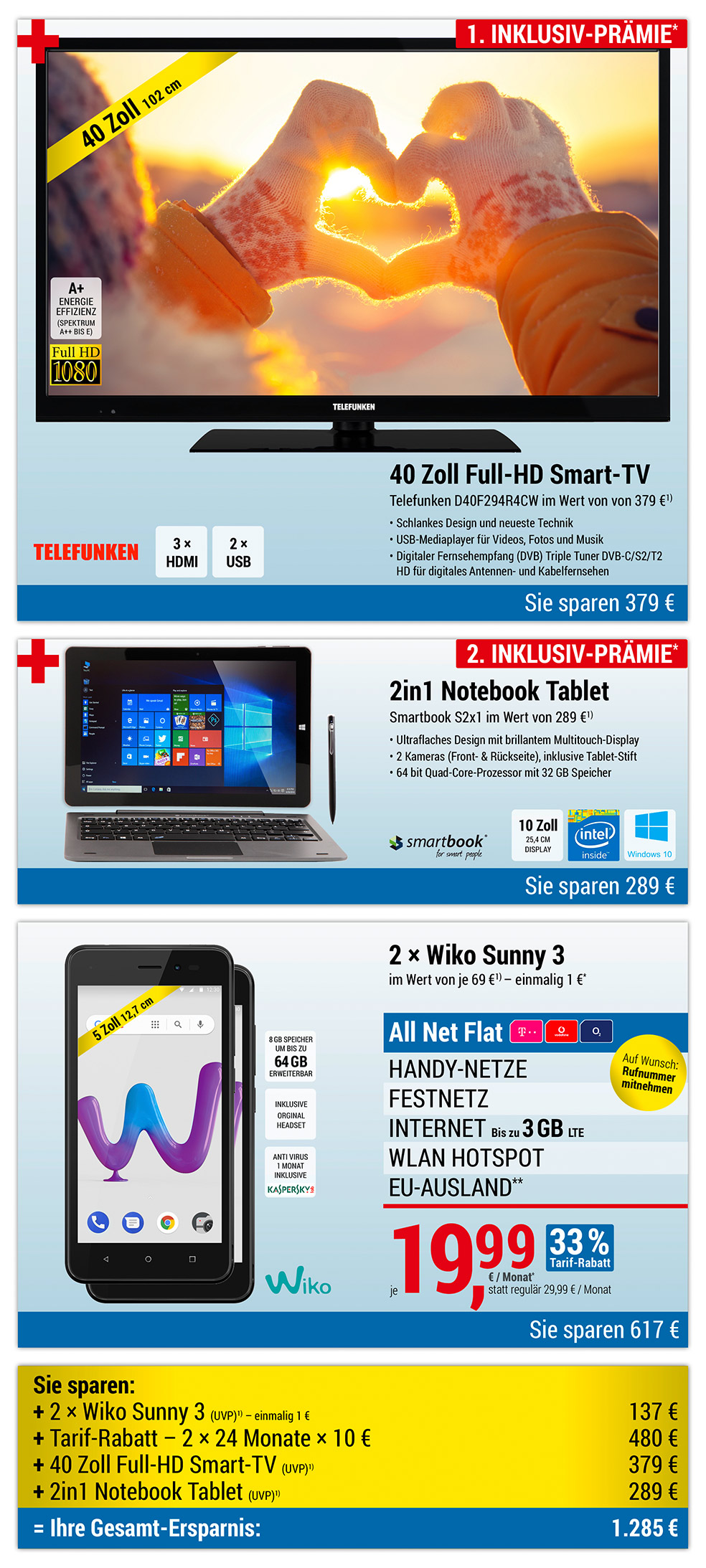 40 Zoll Full HD Smart-TV + 2in1 Tablet INKLUSIVE + 2 × Wiko Sunny 3