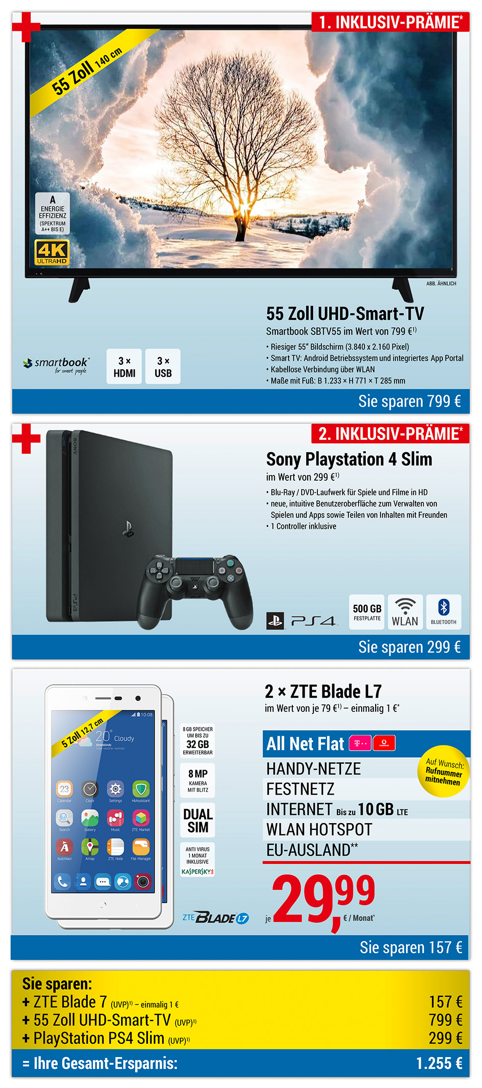 55 Zoll UHD XXL Smart-TV + PlayStation PS4 Slim INKLUSIVE + 2 × ZTE Blade L7
