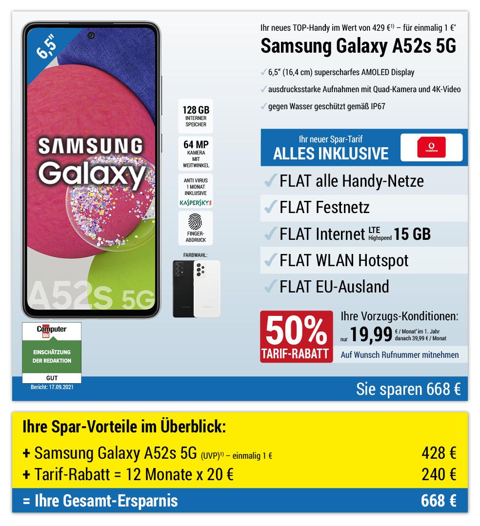 Für nur 1 €*: Samsung Galaxy A52s 5G mit ALL NET FLAT für 19,99 €/Monat im ersten Jahr