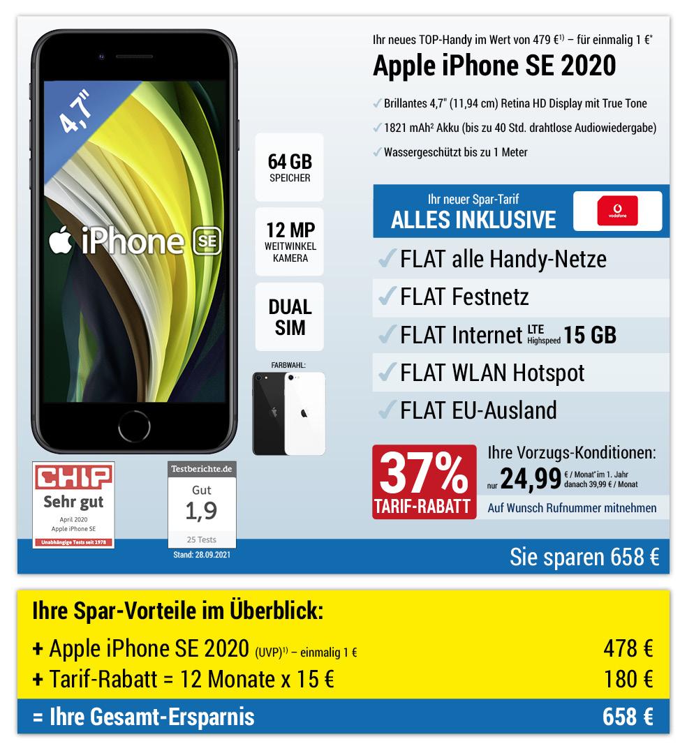 Für nur 1 €*: Apple iPhone SE 2020 mit ALL NET FLAT für 19,99 €/Monat im ersten Jahr