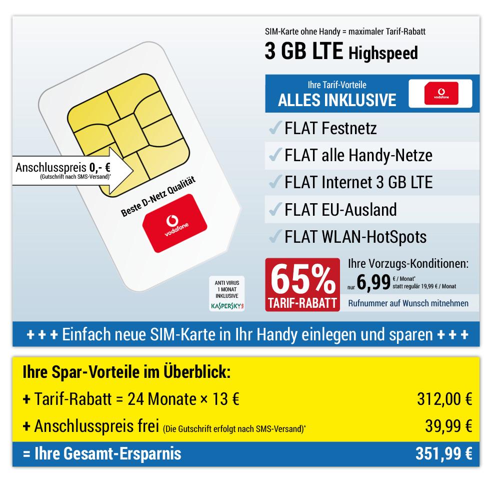 Für nur 0 €*: SIM-Karte, ALL NET SPAR-Tarif für 6,99 € pro Monat